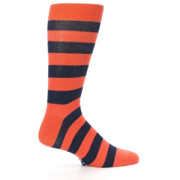 Image of Orange Navy Stripe Men's Dress Socks (side-1-24)