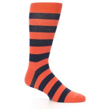 Image of Orange Navy Stripe Men's Dress Socks (side-1-26)