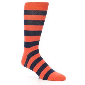 Image of Orange Navy Stripe Men's Dress Socks (side-1-27)