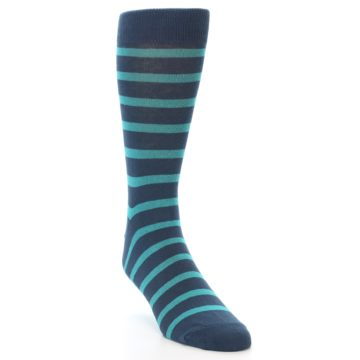 Image of Dark-Blue Teal Stripe Men's Dress Socks (side-1-front-02)