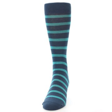 Image of Dark-Blue Teal Stripe Men's Dress Socks (front-05)
