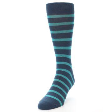 Image of Dark-Blue Teal Stripe Men's Dress Socks (side-2-front-06)