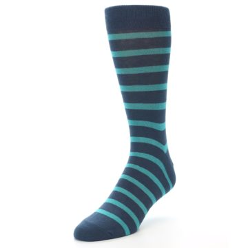 Image of Dark-Blue Teal Stripe Men's Dress Socks (side-2-front-07)