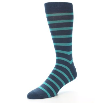 Image of Dark-Blue Teal Stripe Men's Dress Socks (side-2-front-08)