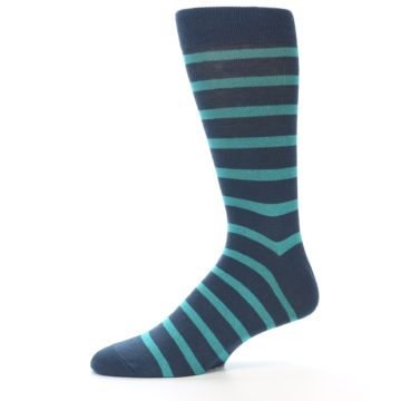 Image of Dark-Blue Teal Stripe Men's Dress Socks (side-2-10)