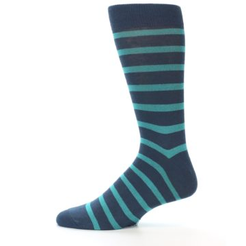 Image of Dark-Blue Teal Stripe Men's Dress Socks (side-2-11)