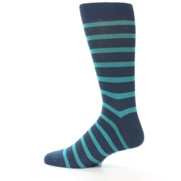 Image of Dark-Blue Teal Stripe Men's Dress Socks (side-2-12)