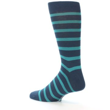 Image of Dark-Blue Teal Stripe Men's Dress Socks (side-2-13)