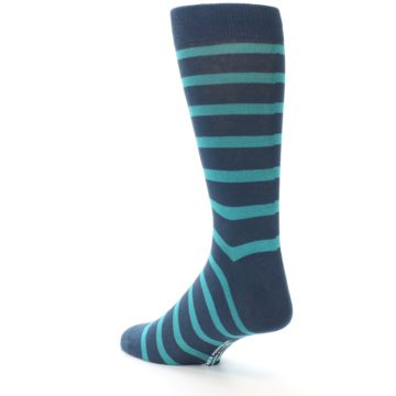 Image of Dark-Blue Teal Stripe Men's Dress Socks (side-2-back-14)