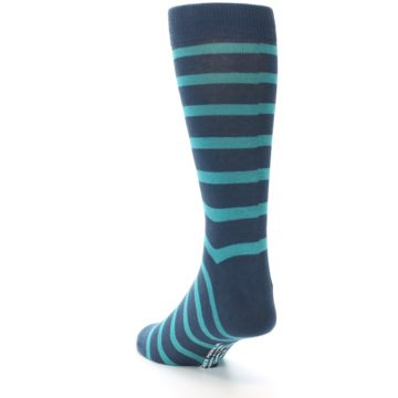 Image of Dark-Blue Teal Stripe Men's Dress Socks (side-2-back-15)