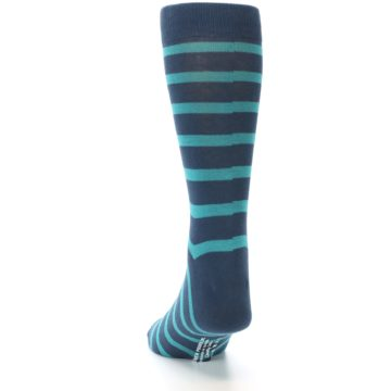 Image of Dark-Blue Teal Stripe Men's Dress Socks (side-2-back-16)