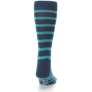Image of Dark-Blue Teal Stripe Men's Dress Socks (back-18)