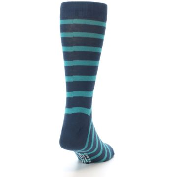 Image of Dark-Blue Teal Stripe Men's Dress Socks (back-19)