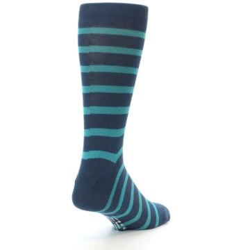 Image of Dark-Blue Teal Stripe Men's Dress Socks (side-1-back-20)