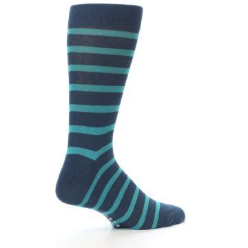Image of Dark-Blue Teal Stripe Men's Dress Socks (side-1-back-22)