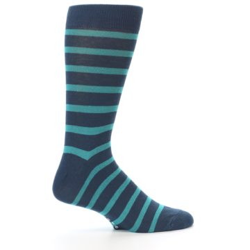 Image of Dark-Blue Teal Stripe Men's Dress Socks (side-1-23)