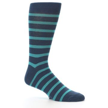 Image of Dark-Blue Teal Stripe Men's Dress Socks (side-1-25)