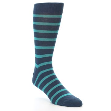 Image of Dark-Blue Teal Stripe Men's Dress Socks (side-1-27)