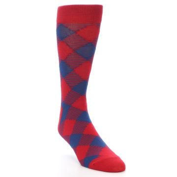 Image of Red Navy Diamonds Men's Dress Socks (side-1-front-02)