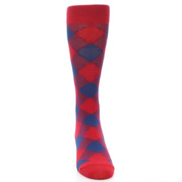 Image of Red Navy Diamonds Men's Dress Socks (front-04)