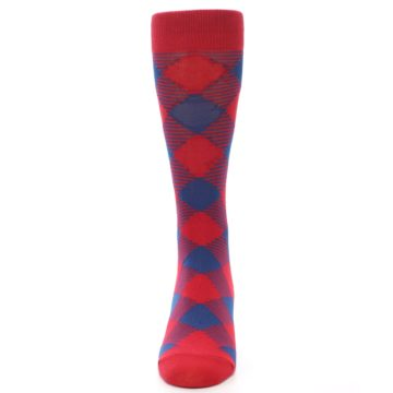 Image of Red Navy Diamonds Men's Dress Socks (front-05)