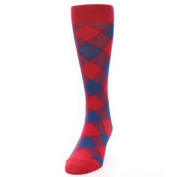 Image of Red Navy Diamonds Men's Dress Socks (side-2-front-06)