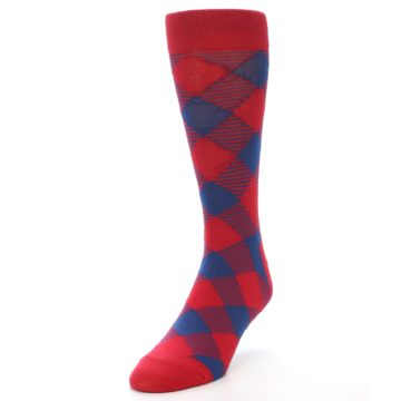 Image of Red Navy Diamonds Men's Dress Socks (side-2-front-07)