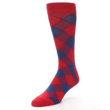 Image of Red Navy Diamonds Men's Dress Socks (side-2-front-08)