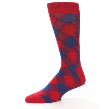 Image of Red Navy Diamonds Men's Dress Socks (side-2-10)
