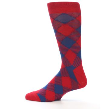 Image of Red Navy Diamonds Men's Dress Socks (side-2-12)