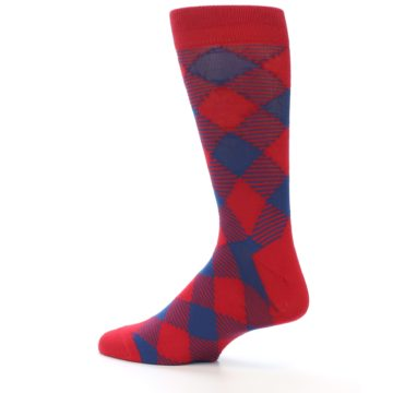 Image of Red Navy Diamonds Men's Dress Socks (side-2-13)