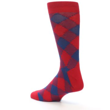 Image of Red Navy Diamonds Men's Dress Socks (side-2-back-14)
