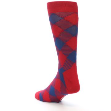 Image of Red Navy Diamonds Men's Dress Socks (side-2-back-15)