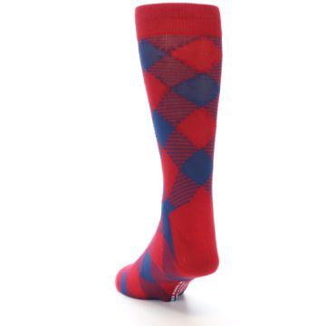 Image of Red Navy Diamonds Men's Dress Socks (side-2-back-16)