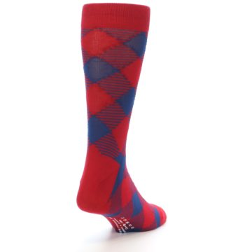Image of Red Navy Diamonds Men's Dress Socks (side-1-back-20)