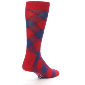 Image of Red Navy Diamonds Men's Dress Socks (side-1-back-21)