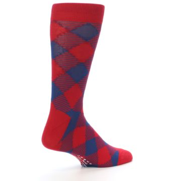 Image of Red Navy Diamonds Men's Dress Socks (side-1-back-22)