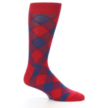 Image of Red Navy Diamonds Men's Dress Socks (side-1-25)