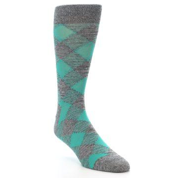 Image of Grey Teal Diamonds Men's Dress Socks (side-1-front-02)