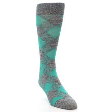 Image of Grey Teal Diamonds Men's Dress Socks (side-1-front-03)