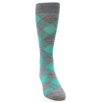 Image of Grey Teal Diamonds Men's Dress Socks (front-04)