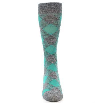 Image of Grey Teal Diamonds Men's Dress Socks (front-05)