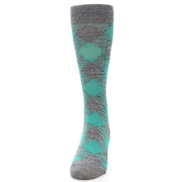 Image of Grey Teal Diamonds Men's Dress Socks (side-2-front-06)