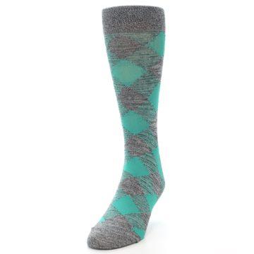 Image of Grey Teal Diamonds Men's Dress Socks (side-2-front-07)