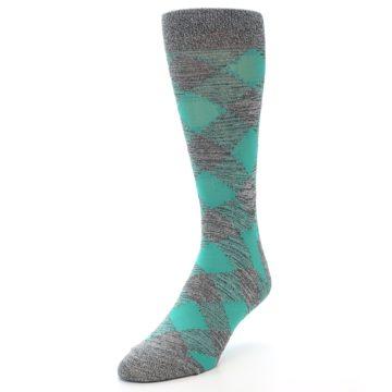 Image of Grey Teal Diamonds Men's Dress Socks (side-2-front-08)