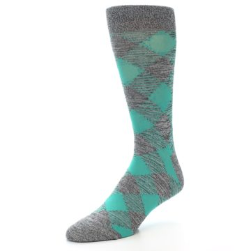Image of Grey Teal Diamonds Men's Dress Socks (side-2-09)