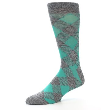 Image of Grey Teal Diamonds Men's Dress Socks (side-2-10)