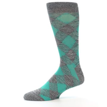 Image of Grey Teal Diamonds Men's Dress Socks (side-2-11)