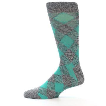 Image of Grey Teal Diamonds Men's Dress Socks (side-2-12)