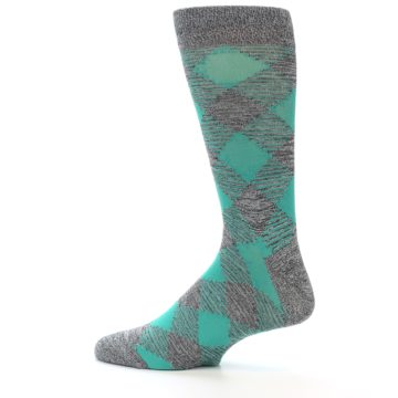 Image of Grey Teal Diamonds Men's Dress Socks (side-2-13)